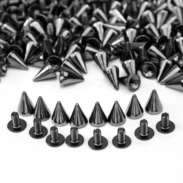 100 PCS 10MM  Spots Cone Screw Metal Studs Rivet Bullet Spikes New