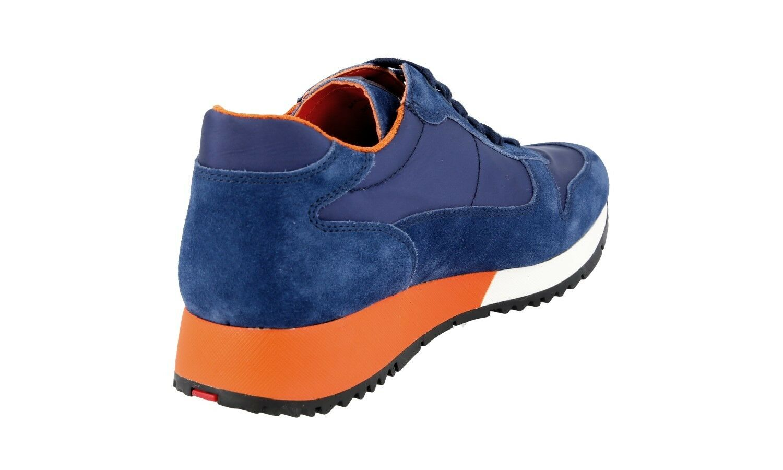 AUTH PRADA PRADA PRADA MATCHRACE  baskets chaussures 3E5939 bleu SUEDE US 7 EU 37 37,5 7f2ae9