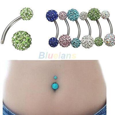 Navel Belly Button Bar Navel Rings Barbell Rhinestone Ball Body Piercing Jewelry
