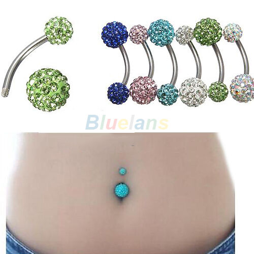 RHINESTONE CRYSTAL BALL BODY PIERCING NAVEL BELLY BUTTON BAR RING BARBELL