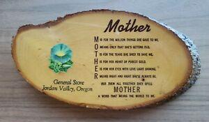 VTG Wood Slice Mother Decoupage Art Jordan Valley Oregon General Store Souvenir