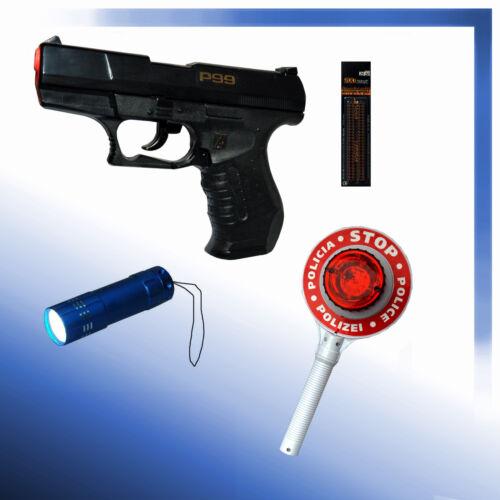Kinder Karneval Munition Polizeikelle Polizei Pistole P99 LED-Lampe
