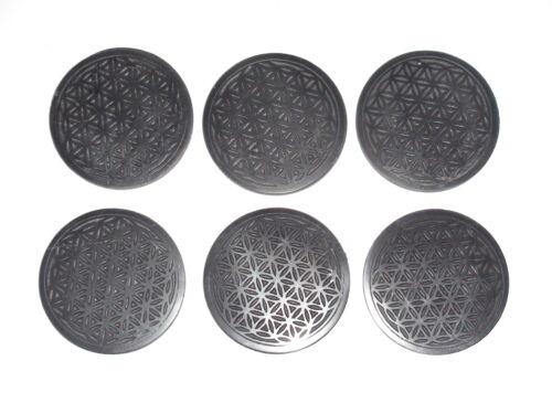 lot 6 pieces. Shungite tiles Flower of Life engraving diameter of 50 mm