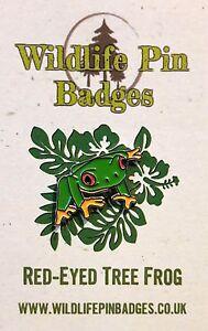 New RSPB Size Wildlife Pin Badges Red-Eyed Tree Frog Enamel Pin Badge