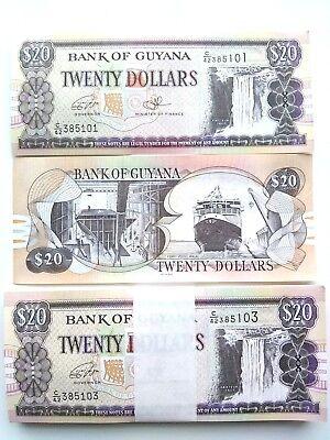 P-23 Banknotes 1992 Guyana 10 Dollars 1//20 Bundle UNC Lot 5 PCS