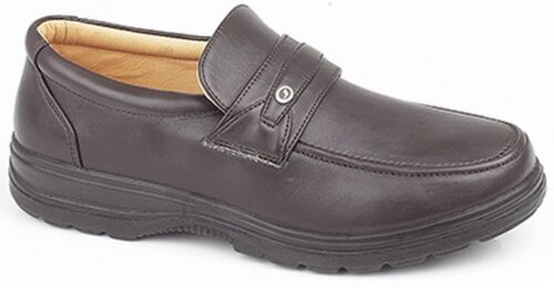 Scimitar Men/'s Faux Leather Budget Smart Office Shoes Black Touch Lace Slip On