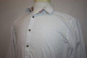 Steel-amp-Jelly-White-Long-Sleeve-Slim-Fit-Geometric-Shirt-Sz-L-Contrast-Cuffs