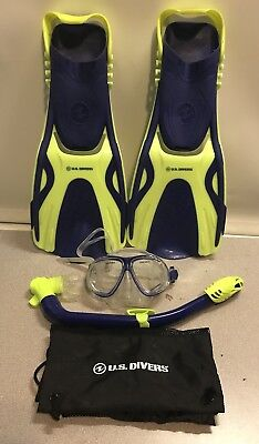 U.S GoPro Ready Blue White Youth Large 5-8 Divers Silicone Snorkeling Set