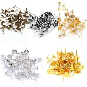 Wholesale 100x Silver Plated Stainless Steel Flat Pad Earring Post Studs Jewelry