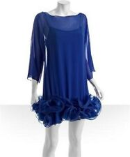 MARCHESA NOTTE Royal Blue SILK CHIFFON *RUFFLED HEM*Festive Mini Shift Dress XS