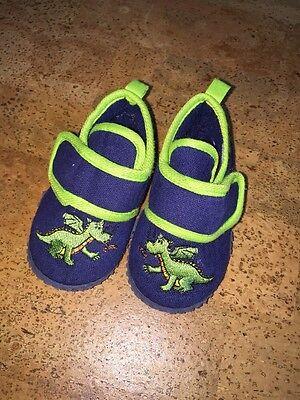 Hausschuhe Schuhe Playschoes Jungen Drachen Klettverschluss Blau Grün 20 / 21