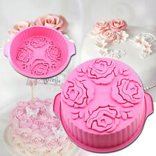 3D Rose Round Silicone Pink Cute Bread Cake DIY Baking Mould Pan Bakeware Mold