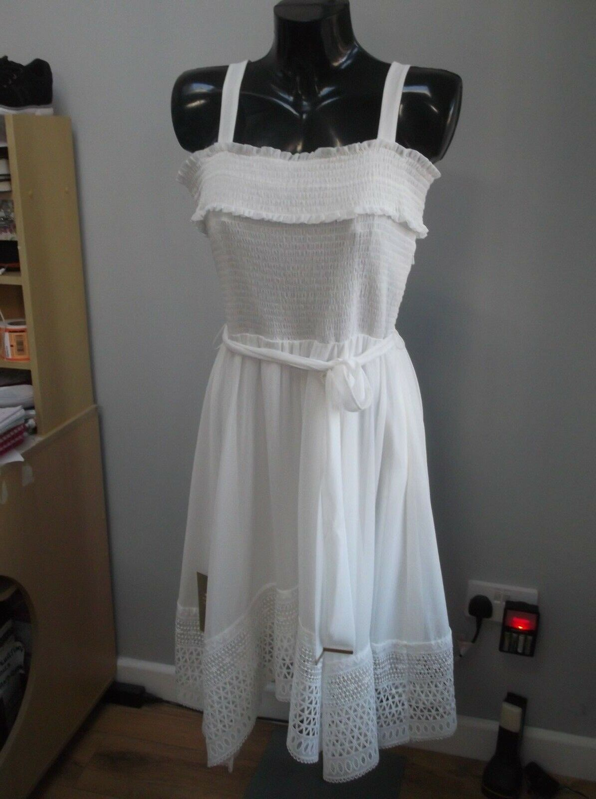 BNWT, fun ivory lace, asymmetric hem summer dress, MYELLA LACE by COAST,