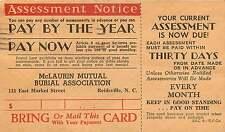 REIDSVILLE NC BURIAL ASSOCIATION ASSESSMENT NOTICE POSTCARD c1951