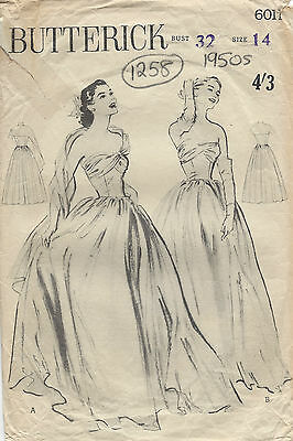 1950s Vintage Sewing Pattern B32 DRESS EVENING GOWN STOLE (1258)