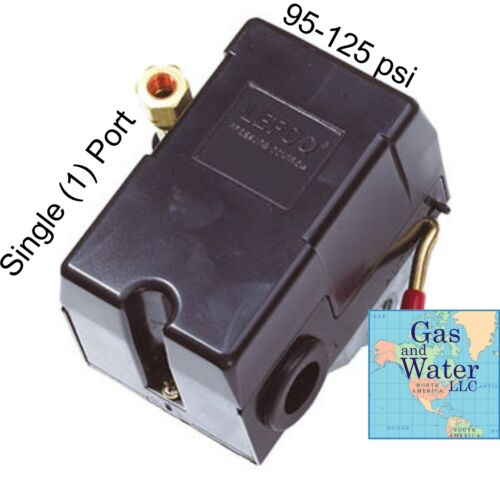 on//off lever Air Compressor PRESSURE SWITCH 95-125 psi SINGLE PORT w// unloader