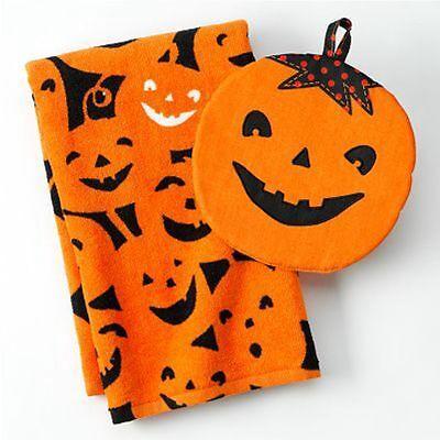 2pc Pumpkin Jack O Lantern Kitchen Dish Towel 26x16 Oven Mitt Potholder 8x9 Nwt Een Brede Selectie Kleuren En Motieven