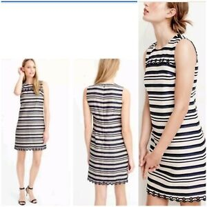 a7d6f119dd6 J.CREW Striped Shift Dress scalloped with grommets navy ivory Size 4 ...