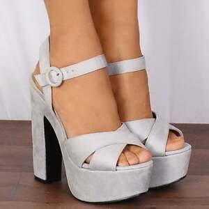 Peep Strappy Heels White Light Shoes Ankle Leather Toes Grey Strap Sandals Platforms Pu High Size qEUcqwIBfx