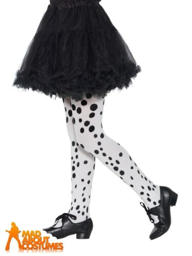 Girls Dalmatian Print Tights Cruella Spotty Book Week Day Fancy Dress Accessory