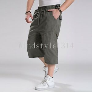 Men-039-s-Loose-Casual-Shorts-Baggy-Straight-Military-Pants-Trousers-High-Waist-Size