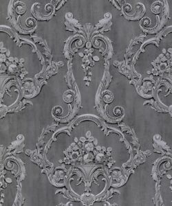 Interiors By Debona Grosvenor Anthracite Grey Damask Wallpaper (6215)