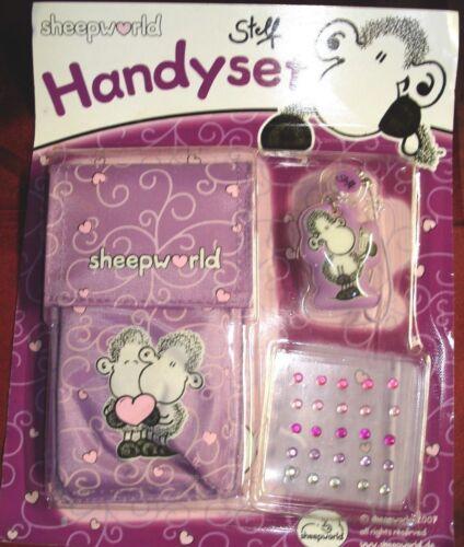 5 Handy-Set v.Sheepworld,27-teil.Handy-Tasche,Anhänger,Strass-Steine,lila,super