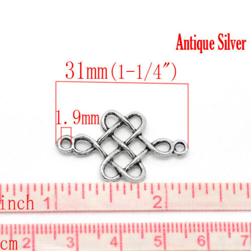 Celtic Knot 31mm Antiqued Silver Plated Connector Charms C6924-10 20 Or 50PCs