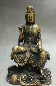8-034-Old-Tibet-Buddhism-Bronze-Free-Kwan-Yin-Bodhisattva-On-Stone-GuanYin-Statue