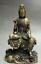 8-034-Old-Tibet-Buddhism-Bronze-Free-Kwan-Yin-Bodhisattva-On-Stone-GuanYin-Statue miniature 1