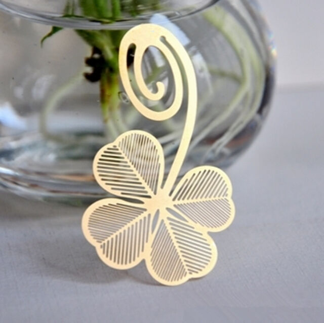 Cute Gold Four-leaf Clover Reading Metal Clip Bookmark Gift Book Mark For Kids C