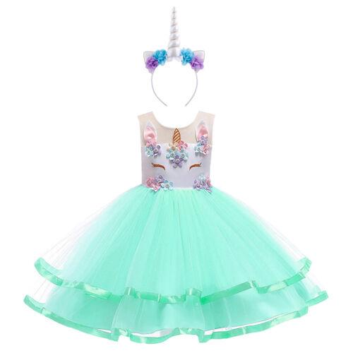 Unicorn Costume robe Enfants Fleur Fille Tulle Birthday Party Carnaval Cosplay Set