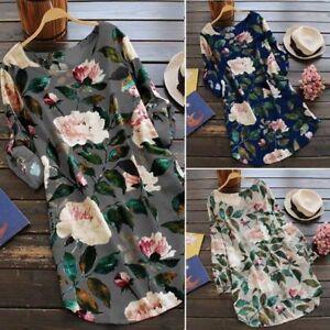 ZANZEA-Women-039-s-Floral-Print-Mini-Dress-Summer-Party-Long-Shirt-Dress-Plus-Size