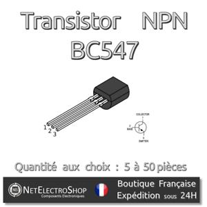 TO-92 Arduino Himbeere Pi Transistoren Npn BC547 45V 100mA BC547B