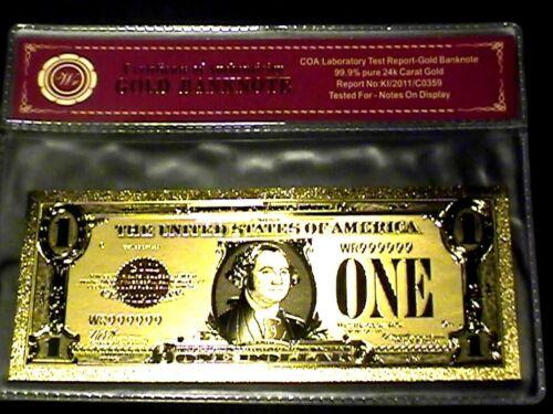 99.9/% 24K GOLD 1928 $1 GOLD CERTIFICATE BILL US BANKNOTE PVC SLEEVE W COA