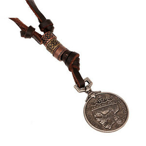 New-Style-Men-039-s-charm-Vintage-Round-Skull-Pendant-Genuine-Alloy-Leather-Necklace