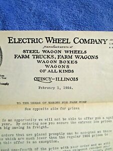 1924 Electric Wheel Company Quincy Il Antique Farmers Wagons Ad