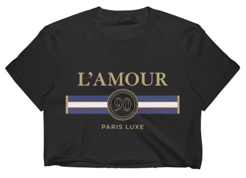 L/'AMOUR CROP TOP T SHIRT WOMENS FUNNY HIPSTER SLOGAN LADIES CUTE SUMMER LAMOUR