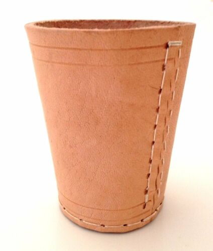 HAND MADE NATURAL REAL LEATHER DICE CUP SHAKER POT UK SELLER