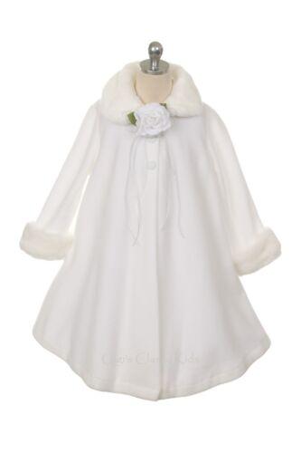 New Girls Fleece Coat Winter Christmas Fur Trim Baby Toddler Fall Wedding Kids