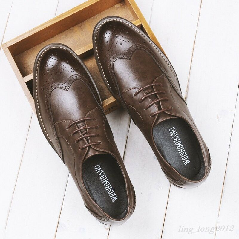 Brogue Mens British shoes Lace Up Leather Dress Round Toe Formal Wing Tip Oxford