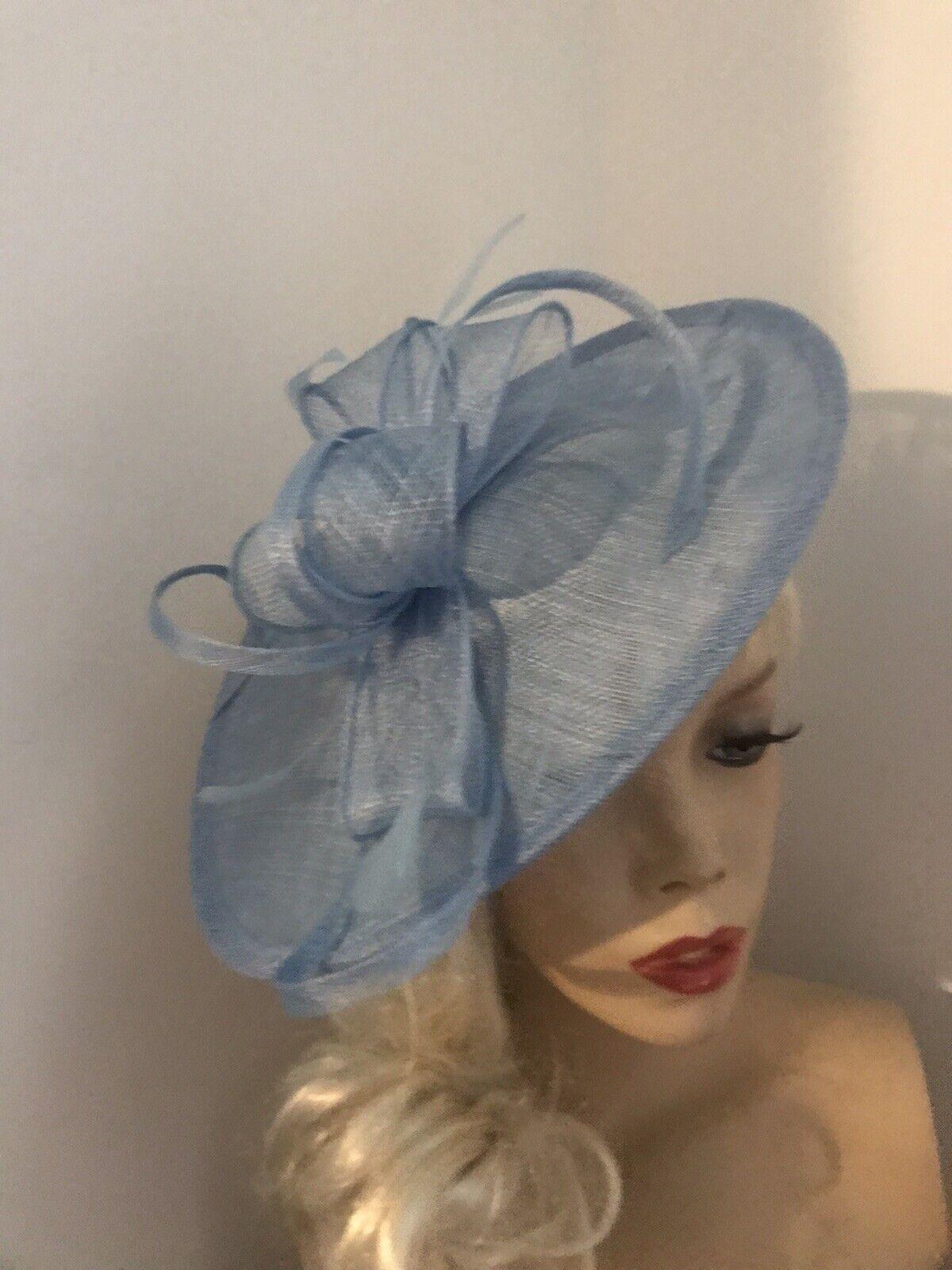 Hatinator Pale Light Blue Saucer Hat Wedding Formal Disc Fascinator Royal Ascot