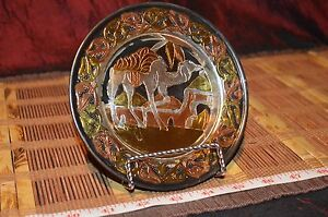 """Egyptian Hand Crafted Metal Copper Brass And Silver Tone Camel Plate 5 3/4"""""""