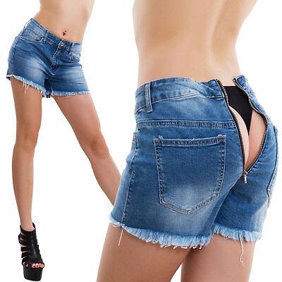 Unito Jeans Shorts Donna Pantaloni Zip Cerniera Posteriore Apribile Pantaloncini M6035