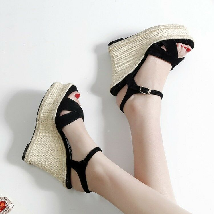 Hot Womens Summer Peep Toe Ankle Strap Wedge High Heels Platform Sandals Size