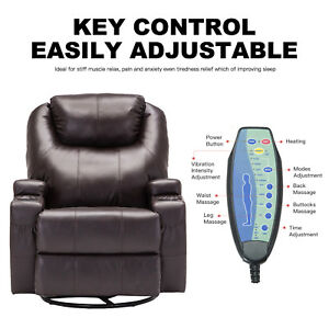 Remarkable Details About Massage Recliner Sofa Lounge Chair Ergonomic Swivel Heated Brown W Control Dailytribune Chair Design For Home Dailytribuneorg