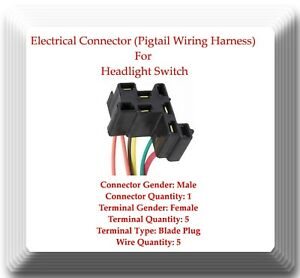 Pigtail Electrical Wire Harness Connector For Headlamp Switch Ds155 Fits Gm Ebay