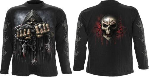 top Spiral direct crâne gothique t shirt à manches longues reaper biker loup à vapeur punk