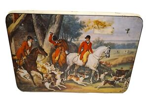 ANCIENNE-BOITE-METAL-EN-TOLE-LITHOGRAPHIEE-MASSILLY-SCENE-DU-CHASSE-RARE
