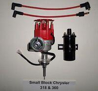 Chrysler Small Block 273-318-340-360 Red Cap Hei Distributor + Black 45k V Coil